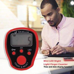 LED ليلة مضيئة صف الاصبع مكافحة lcd الرقمية الالكترونية رصيد عداد للخياطة الحياكة ABS البلاستيك AG3 زر البطارية