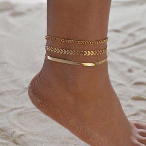3 pz / Set Color Gold Color Semplice Catena Cavigliera per Le Donne Beach Foot Catene Gioielli Catena Gamba Catena Braccialetti Braccialetti Donne Accessori per ragazze