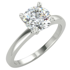 1.13 Ct Round Cut VVS2 F Solitaire Lad Diamond Engagement Ring 14K White Gold Plated