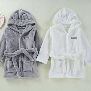 Ins flannel home wear lovely children's robe baby bathrobe