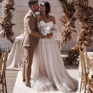 vestidos da sposa Bohemian Wedding Dress Off the Shoulder Boho Beach Bride Dresses A-Line Robe De Mariee Princess Wedding Gowns
