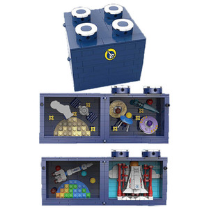New MOC Space Station Magic Box Model Bricks DIY Multi-Sided Opening Cosmic Rocket Scene Building Blocks Toys for Kids Gifts