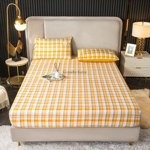 Sheets & Sets 1PC Fitted Sheet Mattress Cover Lattice Printing Bed With Elastic Band Double Queen Size Bedsheet 150x200 180x200