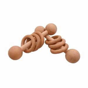 Baby Beißring Spielzeug Buche Hölzerne Rasselholz Kinderkrankheiten Nagetier Ring Musical Chew Spielen Gym Montessori Kinderwagen Für Kinder Waren