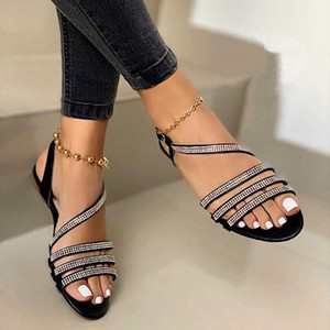 2021 New Women's Flat Sandals Rhinestones Bling Summer Casual Ladies Shoes Comfort Cross Slip on Woman Sandales Plus Size Xpfo