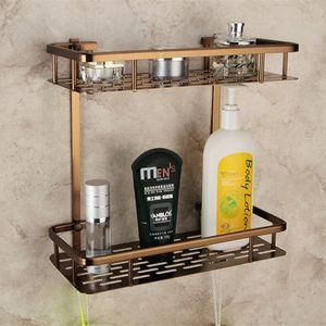 2021 New Europe's Old Double-layer Towel Space Bronze Shelf of Bathroom Storage Rack 300*360*140mm Hjic