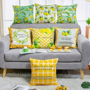 Spring Floral Easter Pillow Cover no filling Flower Lemon Fruit Printed Sofa Decorative Throw 45*45cm Cotton linen Square Cushion Pillowcase