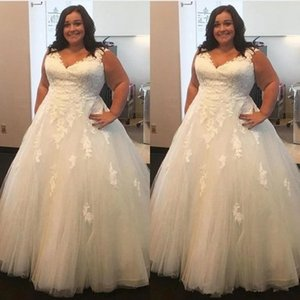 Sexy V neck Plus size Cheap Wedding Dresses Bridal Gowns 2021 Tulle Applique Lace Beaded Ruched Court Train Lace Plus size Wedding Gowns