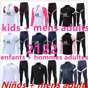 2021 2122 Обучение футбольных майки футбол футбольный трексуит костюм детей + мужчины взрослые Реал Мадрид Чандал бег