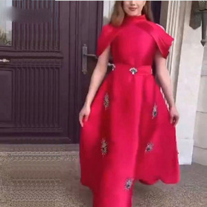 2021 Arrival Satin Red Evening Dresses Long Beaded Vestidos Cap Sleeve Evening gowns Abendkleider Dubai Caftan dress
