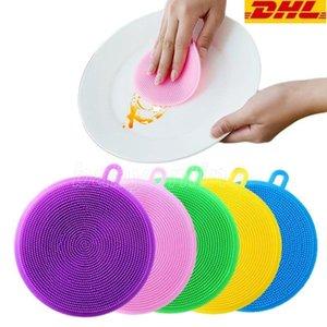 Silicone Cleaning Brush Dishwashing Sponge Multi-functional Fruit Vegetable Cutlery Kitchenware Brushes Kitchen Tools FY2793