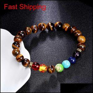 Natural Stone Tiger Eye 7 Chakra Bracelets & Bangles Yoga Balance Beads Buddha Prayer Elastic Bracelet Men jllSDI dh_garden