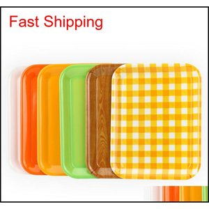 27*20cm 33*25cm Rectangular Breakfast Plate Plastic Tray Hotel Cake Fast Food Bread Fruit Tra jllfcW mywjqq