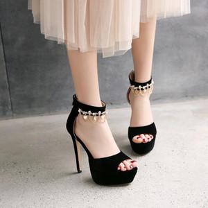 Fashion Womens Shoes 2021 Large Size Beige Heeled Sandals Espadrilles Platform Open Toe Luxury Big Black Stiletto Girls Velvet H