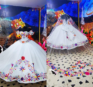 White Quinceanera Dresses Charro Mexican Embroidered Off The Shoulder Satin Theme Ball Gowns Sweet 16 Dress Prom Graduation Evening Gowns