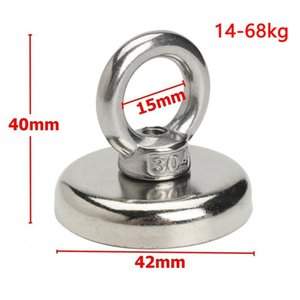 FreeShipping Strong Powerful Round Neodymium Magnet Hook Salvage Magnet Sea Fishing Equipment Holder Pulling Mounting Pot with Ring 4 Sizes