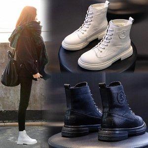 Yiluan Leatherl Motosiklet Botları Bayan Kış 2020 Yeni Platformu Rahat Botlar Beyaz Öğrenciler Lace Up Boot Kadın Sıcak L1CP #