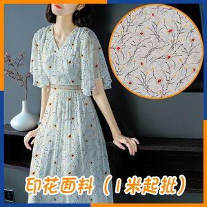 Cowgirl Rodeo Westwear Chiffon Cut Flower Printed Fabric Korean Style Girl Chiffon Floral Tight Waist Strap Dress Printed Fabric in Stock