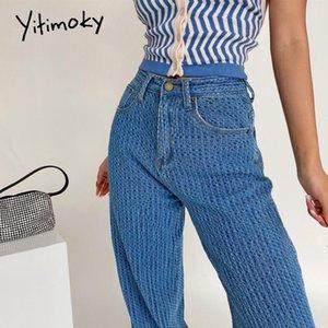 Yitimoky Düz Baggy Kot Kadın Için 2021 Yeni Yüksek Bel Moda Mavi Denim Gevşek Anne Pantolon Giysi Vintage Streetwear Stripe