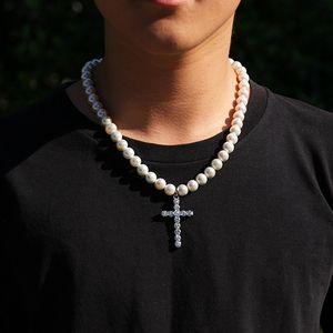 Perle Chaîne Collier Croix Pendentif Hip Hop Colliers pour Femmes Hommes 8 ~ 10mm Perles Perles Link Link Collier Vintage Collier Déclaration Cadeau de bijoux