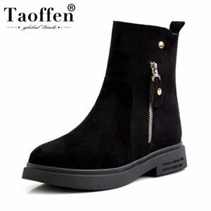 Taoffen Ladies Warm Plush Fur Motorcycle Boots Flats Platform Black Ankle Boots Zipper Simple Shoes Women Size 34 43 Rain Boots Mens S J457#