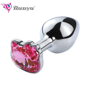 Anal Sex Toys Small Crystal Cat Face Jewel Anal Butt Plug Prostate Massager Anal G-Spot Stimulation For Woman for Couples
