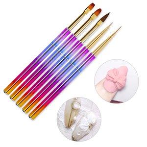 5pcs / set Nylon Color Brown Color Nails Pen Cepillos para el diseño de la manicura 2021 Cepillo de uñas de la moda para dibujar