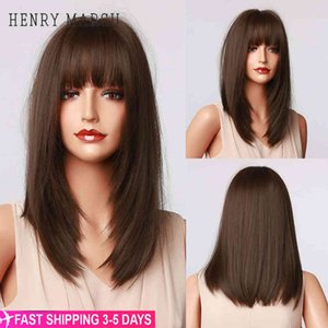 HENRY MARGU Dark Brown Medium Long Bob Synthetic with Bangs Layered Hair Natural Straight Wigs for Women High Temperature