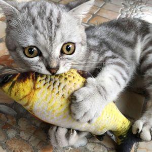 PET suave peluche 3d forma de peces gato mordida juguete de juguete interactivo regalo de pez catnip juguetes rellenos almohada muñeca simulación peces jugando juguete 128 v2