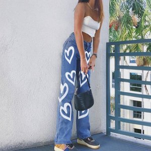 Bold Shade Early 2000s Fashion Denim Jeans Heart Print High Waist Women Baggy Pants Autumn Skater Style Streetwear Fashion Pants