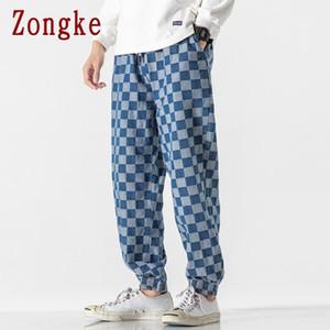 Zongke Ekose Erkek Denim Pantolon Hip Hop Harem Pantolon Erkek Giyim Erkek Pantolon Jogger Harajuku Sweatpants 2021 Yeni M-5XL
