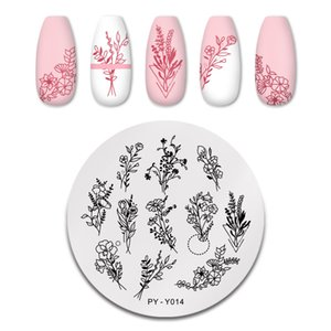Pint You Outono Folhas de Outono Plantas Estampando Placas Flor Lavender Placa Geométrica Modelos de Aço Inoxidável Estêncil Ferramentas