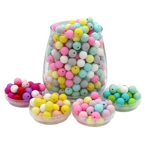 Joepada 300Pcs 9 12  14 15mm Round Silicone Beads Teething Nursing Pacifier Chain Hexagon Beads Food Grade Lentils Baby Teether 210311