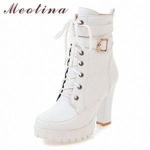 MEOTINA Botas de tobillo de invierno Mujeres botas con cremallera bloque tacones cortos hebilla extrema alto talón zapatos damas blanco tamaño grande 34 43 skechers bo p4bi #