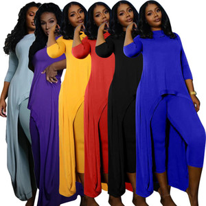 Hot Selling Women Solid Color O-neck Two Piece Sets 2021 Summer Long Sleeve Pullover Tops Skinny Pencil Pants Casual Outfits