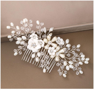 Wedding Flower Headdress Hair Combs For Bride Silver Color Rhinestones Pearls Women Hairpins Bridal Headpiece Hair Com jllKxx