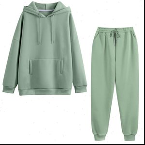 Hoodie 2 Pieces Set Women Autumn Solid Oversized Sweatshirt Set Casual Long Sleeve Fleece Tops Long Pants Tracksuit Suit Outfits