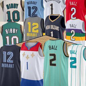 Yeni Lamelo 2 Ball Zion 1 Williamson Basketbol Jersey JA 12 Ahlaki Mike 10 Bibby Erkekler Yeşil Mavi Basketbol Formaları 2020