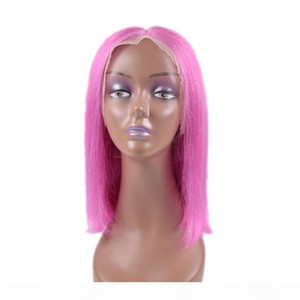Shinning Color Bob Wig 100% Human Hair Lace Frontal Wig Baby Hair Pre Plucked 150% density silky and soft green blue red pink yellow purple