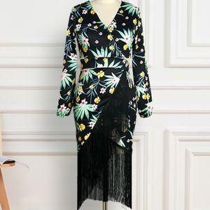 Богемный цветок печати кисточка платье праздник женщина элегантный V шеи длинный рукав вечернее платье прилив кимоно платье халат de soion 2021