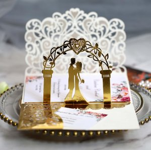 3D Wedding Invitation Cards Laser Hollow Out Bride And Bridegroom Reflective Gold Invitations For Wedding Engagement HHB10780
