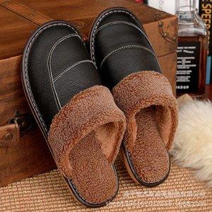 الجلود النعال رجل النعال الدافئة غير زلة الطابق خشبي داخلي مريح المنزل المرأة المخملية الأحذية الدافئة الأحذية الأخضر الأحذية من، $ 22 Y3H2 #