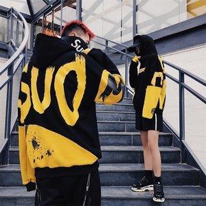 Горячая Корея осень зима женские капюшоны повседневная уличная одежда хип-хоп с длинным рукавом пуловер толстовки женские пара носить одежду Y200107