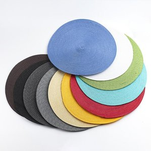 Round Woven Placemats Heat Resistant Wipeable Placemat non-slip Washable Kitchen Place Mats Hand-Woven Rattan Placemats