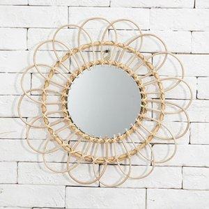 Rattan Innovative Kunst Homestay Dekoration Makeup Mirror Dressing Bad Wall Hanging Spiegel Handwerk Foto Requisiten