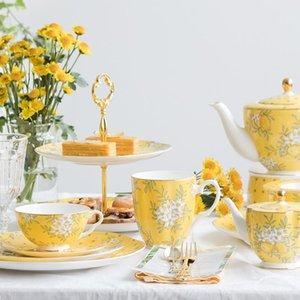 Piatti Piatti Eecamail Bone Cina Stoviglie Set Home Europeo Fiore di lusso in ceramica Placca in ciotola di riso American Ins