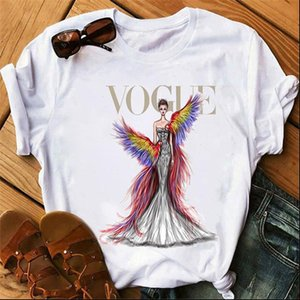 Beauty In Designed Dress Printed Vogue T shirts Woman Tshirts 2021 New Summer Short Sleeve Casual White T shirts Tops Tee