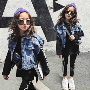 Vieeoease Big Girls Sets Children Clothing 2019 Autumn Street Style Sweater +Denim Waistcoat + Letter Legging Children Outfits 3 pcs CC-523