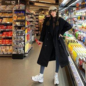 Women's Trench Coats Women Coat Casual Long Outerwear Loose Overcoat With Winter Fashion Single Breasted Windbreaker Female Y17