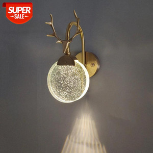 Nordic antler wall lights  crystal lamp shade living room decor indoor lighting wall decoration villa stairs light fixture #Q448